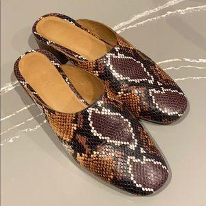 Madewell snakeskin print leather mules